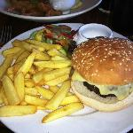 Hamburger with Emmental Cheese and Bacon with Chips
