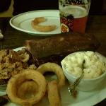 Ribs, pulled pork, tri tip, onion rings, mac n cheese and cold beer!