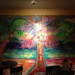 beautiful painting you see as you enter the restaurant