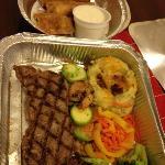 sirloin steak & shrimp combo with eggrolls
