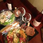 Room Service Caesar and Mediterrean salads with Rose'