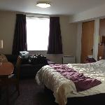 View from Main entrance. This was a double bed room