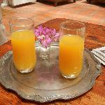Orange juice on arrival