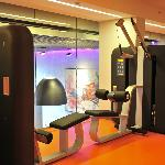 Gym at 2nd floor with lobby view. Open 24-7.