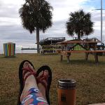 enjoying a cool December morning at Gulf Side on Cedar Key