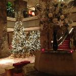 The lobby decor for Christmas