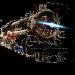 Train decorated at night (December) Photo opportunity.