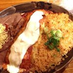 seafood enchilada with rice & beans- my fave!