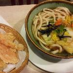 udon noodles with tempura vege amd shrimp