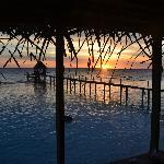 Vue de notre bungalow, coucher de soleil depuis notre petite terrasse!