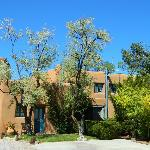Massive adobe pueblo-style downtown Santa Fe, NM bed and breakfast- Pueblo Bonito Inn.