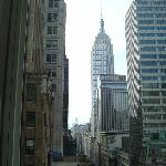 The Empire State Building (among others) as seen from the room.