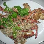 Lobster fried in garlic