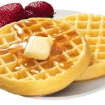 Our complimentary breakfast features waffles with Saskatoon Berry or Strawberry toppings