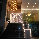 Entranceway at night during advent