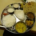 the veg thali at Sanman - the bhakhri can be swapped for chapatis if you want