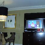 dining table and flatscreen TV