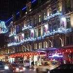 The Christmas lights outside the Adagio