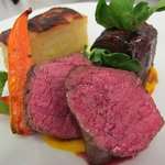 roasted fillet of beef with braised ox cheek