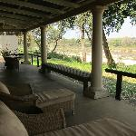 Front porch of khaya overlooking river