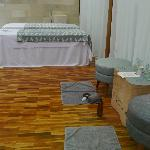 The inside of the private spa