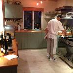 Peter (the chef) preparing supper in the kitchen
