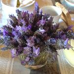 Home grown lavender on the breakfast table