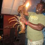 Allan with some fresh spiny lobster