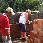 bricklaying with the locals!
