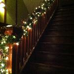 The stairs leading to the dining room