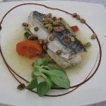A nice fish with sauce and nuts
