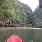 Kayaking into the hong at low tide to investigate
