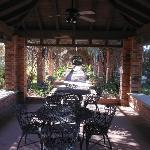 Wrought Iron Picnic Tables Sheltered near the pools