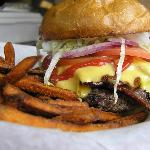 Delicious hand-made burgers with sweet potato fries