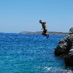 A team member rock jumping 64 seconds from the pool.
