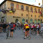 Classic bike race started from piazza near hotel