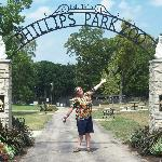 Thomas at the entrance of Phillips Park Zoo