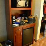 microwave, coffee/tea and small fridge