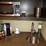 little kitchenette in room