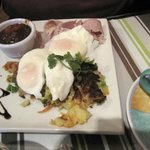 Bubble & Squeak - poached eggs, home-baked ham with apple chutney £7.95