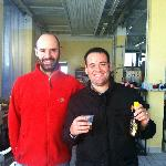 Brewmaster Ivano and a very happy customer