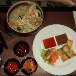 indonesian spring rolls and noddle (can't quite remember the name)