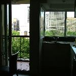 Balcony view and kitchen