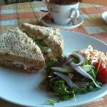 Crayfish sandwhich with side salad