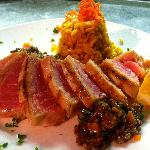 Grilled Ahi Tuna with Olive Tapanade and Rice Pilaf