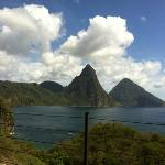 View from our balcony of the Pitons