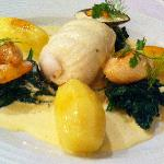 poached sole filet with shellfish