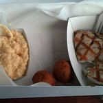 grouper, cheese grits and hush puppies