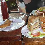 Sandwich and samosas