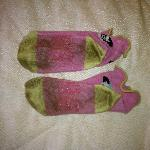 This is what my daughters socks look like after she walked around the room without her shoes on